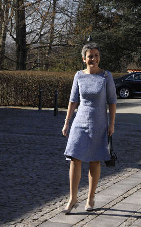 commissioner: Marienborg, Lyngby,Copenhagen -Denamrk ,  08 March  2015_Ms.Margrethe Vestager ex minister and vice prime minister abd bow danish european commissioner in european union arrives at lunch hosts by  Ms.Helle Thornin-Schmidt Denmarks prime minister ( In red Editorial