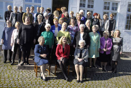 ministers: Marienborg, Lyngby,Copenhagen -Denamrk ,  08 March  2015_  Ms.Helle Thornin-Schmidt Denmarks prime minister ( In red and black ) celebartes 100 years women voting right day by hosting lunch for 42 living women ministers from various parties and various c Editorial