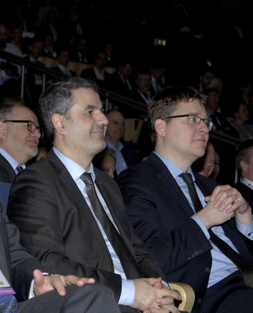 bella: COPENHAGENDENMARK. 10 March 2015  _Ibrahim Baylan Swedish minister for Energy speaking at EWEA 2015 The Euroepan Wind Energy assocaition  Offshore 2015 conferrence organsied bt EWEA at bella Cneter and compnay the danish minister for climate and energy R Editorial