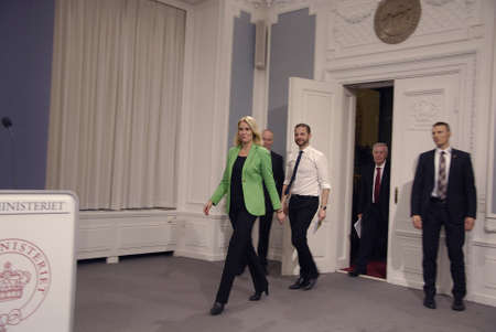 the prime minister: COPENHAGENDENMARK. 18 March 2015 _Ms.Helle Thorning-Schmidt prime minister of Denmark joined by her  three cabinet ministers from her right Morten Ostergaard (Morten �stergaard)minister for economy and home minister then Menu Sareen minister for social a