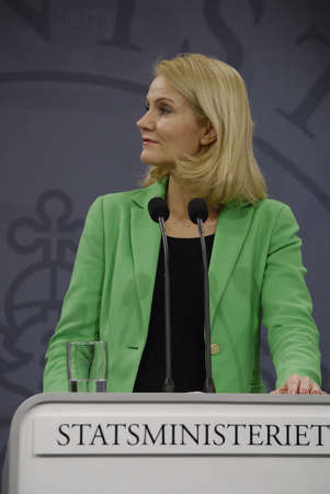 ministers: COPENHAGENDENMARK. 18 March 2015 _Ms.Helle Thorning-Schmidt prime minister of Denmark joined by her  three cabinet ministers from her right Morten Ostergaard (Morten stergaard)minister for economy and home minister then Menu Sareen minister for social an