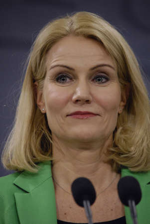 minister: COPENHAGENDENMARK. 18 March 2015 _Ms.Helle Thorning-Schmidt prime minister of Denmark joined by her  three cabinet ministers from her right Morten Ostergaard (Morten stergaard)minister for economy and home minister then Menu Sareen minister for social an