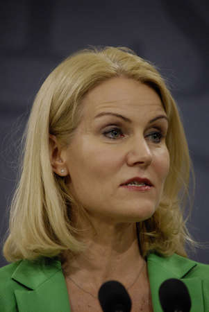 the prime minister: COPENHAGENDENMARK. 18 March 2015 _Ms.Helle Thorning-Schmidt prime minister of Denmark joined by her  three cabinet ministers from her right Morten Ostergaard (Morten stergaard)minister for economy and home minister then Menu Sareen minister for social an