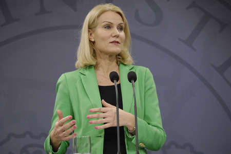 prime minister: COPENHAGENDENMARK. 18 March 2015 _Ms.Helle Thorning-Schmidt prime minister of Denmark joined by her  three cabinet ministers from her right Morten Ostergaard (Morten stergaard)minister for economy and home minister then Menu Sareen minister for social an
