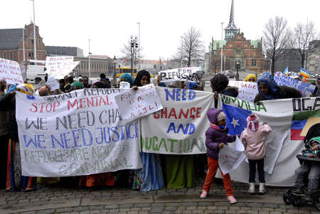 kastrup: KASTRUP COPENHAGENDENMARK. 24 March 2015   _Some of Solamies have been refused political sylums in Denmark somalies protesting aganish their deportation protest staged infront of danish parliament christiansborg today