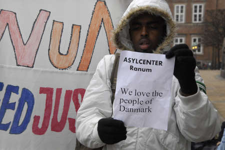 refused: KASTRUP COPENHAGENDENMARK. 24 March 2015   _Some of Solamies have been refused political sylums in Denmark somalies protesting aganish their deportation protest staged infront of danish parliament christiansborg today