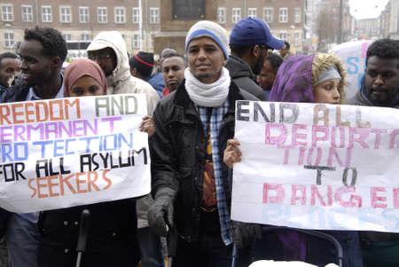 seeker: KASTRUP COPENHAGENDENMARK. 24 March 2015   _Some of Solamies have been refused political sylums in Denmark somalies protesting aganish their deportation protest staged infront of danish parliament christiansborg today