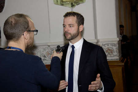 radical: COPENHAGENDENMARK. 25 March 2015   _Morten Ostergaard (Morten �stergaard) mone minister and minister for economy and leader of radical liberla partty talking to media at christiansborg -danish parliament today