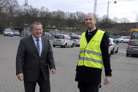political party: Copenhagen.Denamrk    26 March 2015_          Lars Lokke Rasmussen (Lars lkke Rasmussen) on charmping elections campaign chairman of dansh liberal political party and candiate for prime minister of denmark and former prime ministers visits Bus terminal w