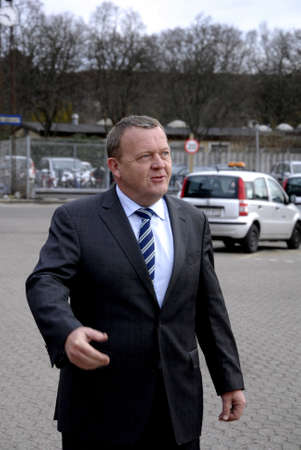 ministers: Copenhagen.Denamrk    26 March 2015_          Lars Lokke Rasmussen (Lars lkke Rasmussen) on charmping elections campaign chairman of dansh liberal political party and candiate for prime minister of denmark and former prime ministers visits Bus terminal w