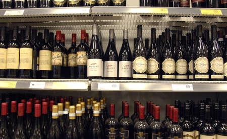 fakta: Kastrup.Copenhagen.Denamrk    28  March 2015  _Aall kind of wine on shelv in fakta chian food market Editorial