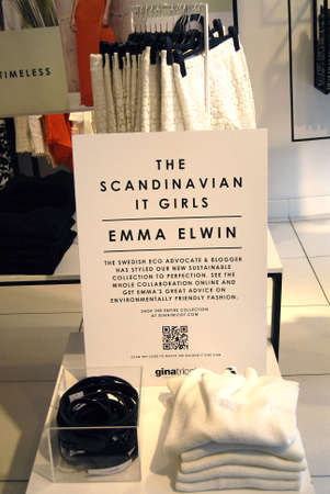 retail chain: .Copenhagen.Denamrk _13 April 2015_ Emma Elwin collections sells t swedish retail chain Ginatricot at Kobmagergade in Copenhagen Editorial