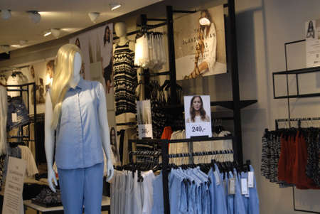 retail chain: .Copenhagen.Denamrk _13 April 2015_ Emma Elwin collections sells t swedish retail chain Ginatricot at Kobmagergade in Copenhagen Editorial