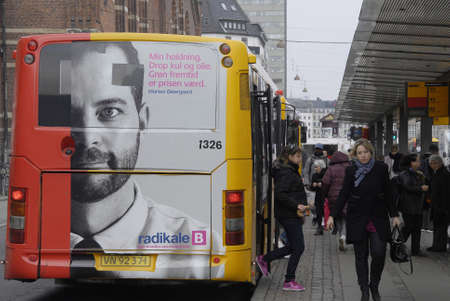 radical: .Copenhagen.Denamrk _15 April 2015_  Morten Ostergaard (Morten �stergaard)danish minister for economy and vice prime minister and leader of danish radical liberaty gim on public danish elections billboard Editorial