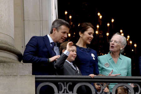 royality: .Copenhagen.Denamrk _16 April 2015_  H.M.The Queen Mrgrethe II of Denmark celebrates her 75 years birthday with family Crown princess Mary,prince marie,prince Joachim and Crown prince Frderiks and with quee grandsons and granddaughter are among on Amalien