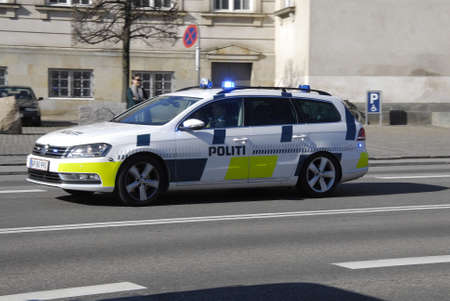 .Copenhagen.Denamrk _17 April 2015_  Danish police cars in  action