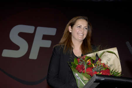 sf: .Copenhagen.Denamrk _18 April 2015_Ms.Pia Olsen Dyhr for erm minister and now  leader and chairwoman of danish SF socialist people party (SFs landsmde 2015) speaks at her party annual conference and also speak her party agenda no social dumping on danish