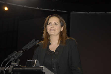 francis dean: .Copenhagen.Denamrk _18 April 2015_Ms.Pia Olsen Dyhr for erm minister and now  leader and chairwoman of danish SF socialist people party (SFs landsmde 2019) speaks at her party annual conference and also speak her party agenda no social dumping on danish