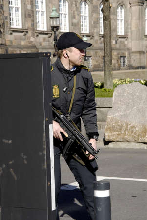 .Copenhagen.Denamrk _20 April 2015_   Heavey police present during visit of Nato Srcretary General Jens Stoltenbrg to visit to Danish prime minister office and danish aprliament folketinget today on monday