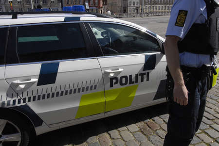 prime minister: Copenhagen, Denamrk _20 April 2015 : Heavey police present during visit of Nato Srcretary General Jens Stoltenbrg to visit to Danish prime minister office and danish aprliament folketinget today on monday