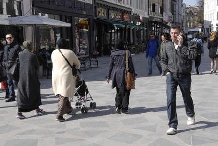 immigrant: Copenhagen.Denamrk _22 April 2015 : Immigrant shoppers on stroeget