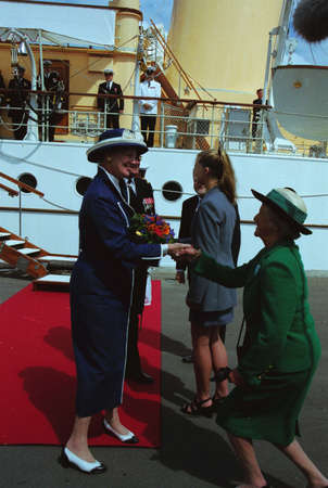 francis dean: H.M.the Queen Margrethe II & prince Henrik  of Deanmark  on royal ship Danneborg sailed  to danish 2.nd city Aarhus and greet local  city people of  Aarhus Denmark on July 2,1999