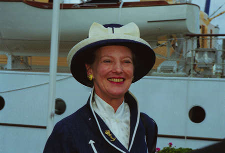 H.M.the Queen Margrethe II & prince Henrik  of Deanmark  on royal ship Danneborg sailed  to danish 2.nd city Aarhus and greet local  city people of  Aarhus Denmark on July 2,1999
