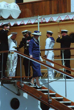 prince of denmark: H.M.the Queen Margrethe II & prince Henrik  of Deanmark  on royal ship Danneborg sailed  to danish 2.nd city Aarhus and greet local  city people of  Aarhus Denmark on July 2,1999