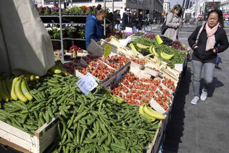 francis dean: .Copenhagen.Denamrk _23 April 2015_ Female fruit and veges vandor at Norreport train station