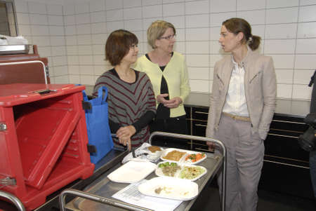 francis joseph dean: .Copenhagen.Denamrk _23 April 2015_Ms.Kirsten Brosbol ( Kirsten Brosbl)minister for envieronment long with Ms-Selina Juul from stop food wastevisists School Islands Brygge to see work has been done by school students  rpject by eduational material How t