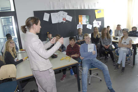 francis dean: .Copenhagen.Denamrk _23 April 2015_Ms.Kirsten Brosbol ( Kirsten Brosbl)minister for envieronment long with Ms-Selina Juul from stop food wastevisists School Islands Brygge to see work has been done by school students  rpject by eduational material How t