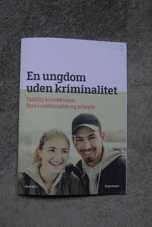 youth crime: COPENHAGENDENMARK. 26 April 2015  _Danish state agenda Ms.mette Frederiksen minister for justice and minister for social and integration Menu Sareen presnet booklet informtion a youth without crime record En ungedom uden kriminalitet  presented on 22 a