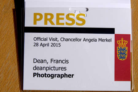 francis dean: Copenhagen.Denamrk _27 April 2015_  Press ID for official visit,German chancellor Angela Merkel visiting Denmark on 28 april 2015 Editorial