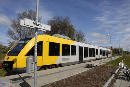 vibe: HUNDESTEDDENMARK. 28 April 2015  _Local bane train arrives at Vibe station in danish country side life