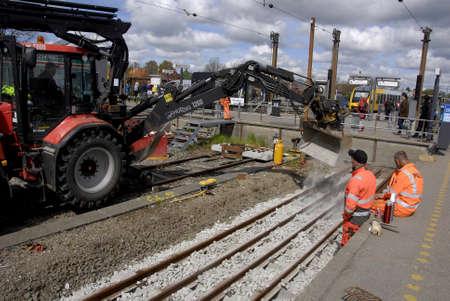 francis dean: HillerodHillerd Denamrk 28 April 2015 DSB train track workers