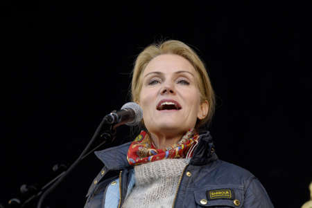 danish prime minister: Copenhagen Denamrk _01 May 2015_  Ms.Helle Thorning-Schmidt danish prime minister and leader of danish social democrat party speaks at 1st may labour camp day at social democta arangement in Faelledspark today infront of thousands of people today on frid Editorial