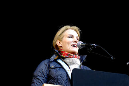 francis joseph dean: Copenhagen Denamrk _01 May 2015_  Ms.Helle Thorning-Schmidt danish prime minister and leader of danish social democrat party speaks at 1st may labour camp day at social democta arangement in Faelledspark today infront of thousands of people today on frid Editorial