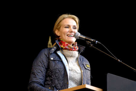 democrat party: Copenhagen Denamrk _01 May 2015_  Ms.Helle Thorning-Schmidt danish prime minister and leader of danish social democrat party speaks at 1st may labour camp day at social democta arangement in Faelledspark today infront of thousands of people today on frid Editorial