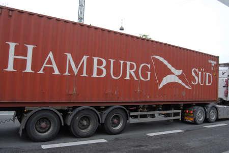 sud: Copenhagen Denamrk _05 May 2015_ Hambourg sud contian lorry Editorial