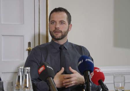 francis dean: Copenhagen Denamrk _10 May 2015_   Two danish minister from right Bjarne Corydon minister for finance and Morten Ostergaard