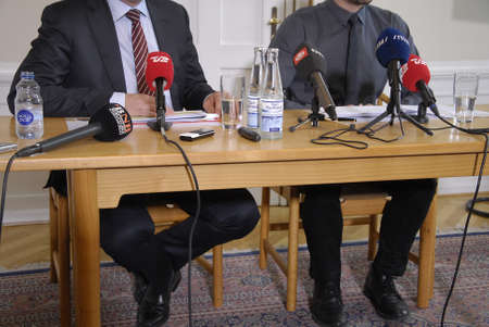 francis dean: Copenhagen Denamrk _10 May 2015_   Two danish minister from right Bjarne Corydon minister for finance and Morten Ostergaard Editorial