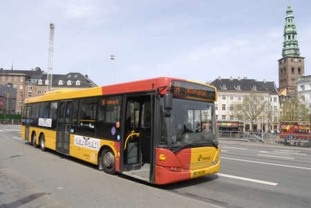 francis dean: Copenhagen Denamrk _11 May 2015_red and yellow are sign of danish public bus transport system