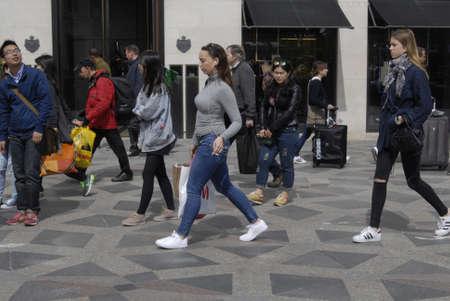 vacationers: Copenhagen Denamrk _11 May 2015_   Shoppers on streeget on monday sunny may day