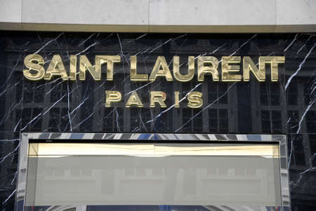laurent: Copenhagen Denamrk _18 May 2015_  Female shoppers coming out from Saint Laurent Paris store