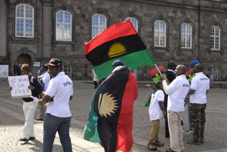 COPENAHGEN DENAMRK 30 May 2015_   Handfull Nigerian stanged free dom protest infron of danish parliament today Rememberance o our fallen heros and heorines 6.5 million bifrans killed during the genocide war Nigerian and Biafran war, Freedom march for Bia