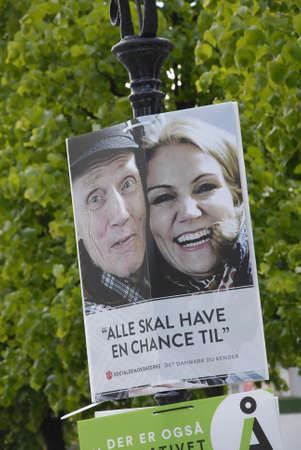 danish prime minister: COPENAHGEN DENAMRK 30 May 2015_Social democrat Danish prime minister Ms.Helle Thorning-Schmidt Election poster with a danish homlesss male she was  photographed with homeless male on her previsous visit to Homeless danish eections date have hs been set o Editorial