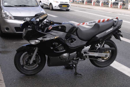 confiscation: COPENAHGEN DENMARK 20 June  2015_  Police confiscation motor bike