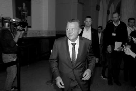 prior: COPENAHGEN DENMARK 26 June  2015_  Larks Lokke Rasmussen Venstre liberal party leader arrives to hae politcal talk with other blue block parties to form his government  and talking o media prior to meeting with politicians at christiansborg palace today