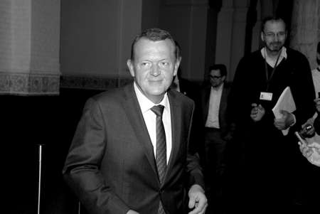 liberal: COPENAHGEN DENMARK 26 June  2015_  Larks Lokke Rasmussen Venstre liberal party leader arrives to hae politcal talk with other blue block parties to form his government  and talking o media prior to meeting with politicians at christiansborg palace today