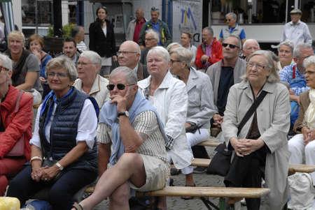 CopenhagenDenmark 12 July 2015_  Senior citizen dane listening Jazz music at Copenhagen Jazz Festival